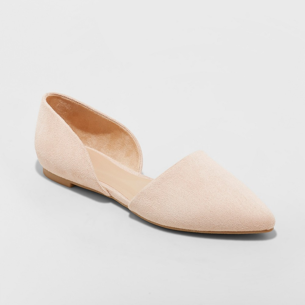 Women's Rebecca Pointed Two Piece Ballet Flats - A New Day Blush 8