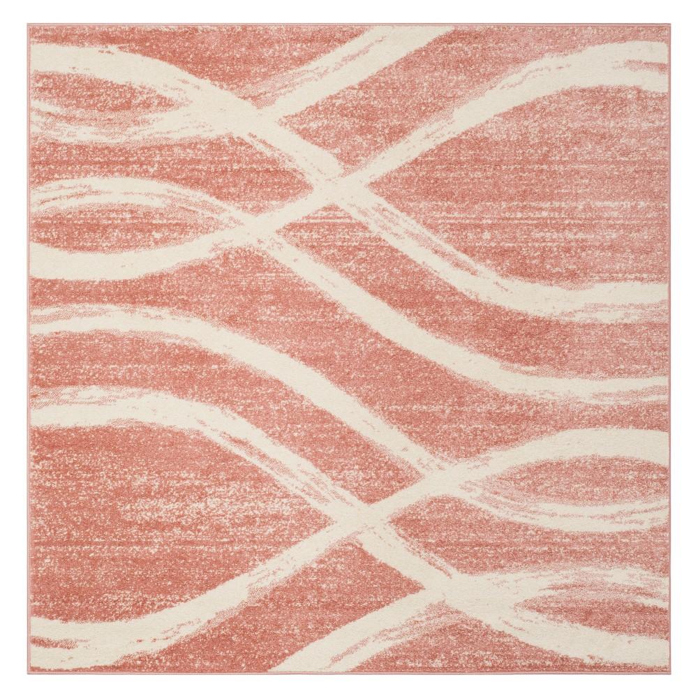 6'X6' Wave Square Area Rug Rose/Cream - Safavieh, Off-White Pink