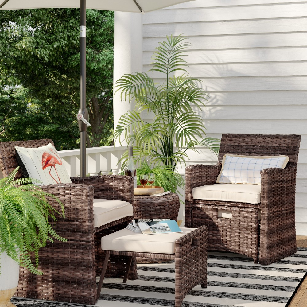 Halsted 5pc Wicker Patio Seating Set - Tan - Threshold was $550.0 now $275.0 (50.0% off)