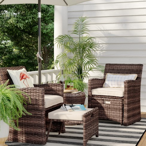 Halsted 5pc Wicker Patio Seating Set, Small Space Outdoor Furniture