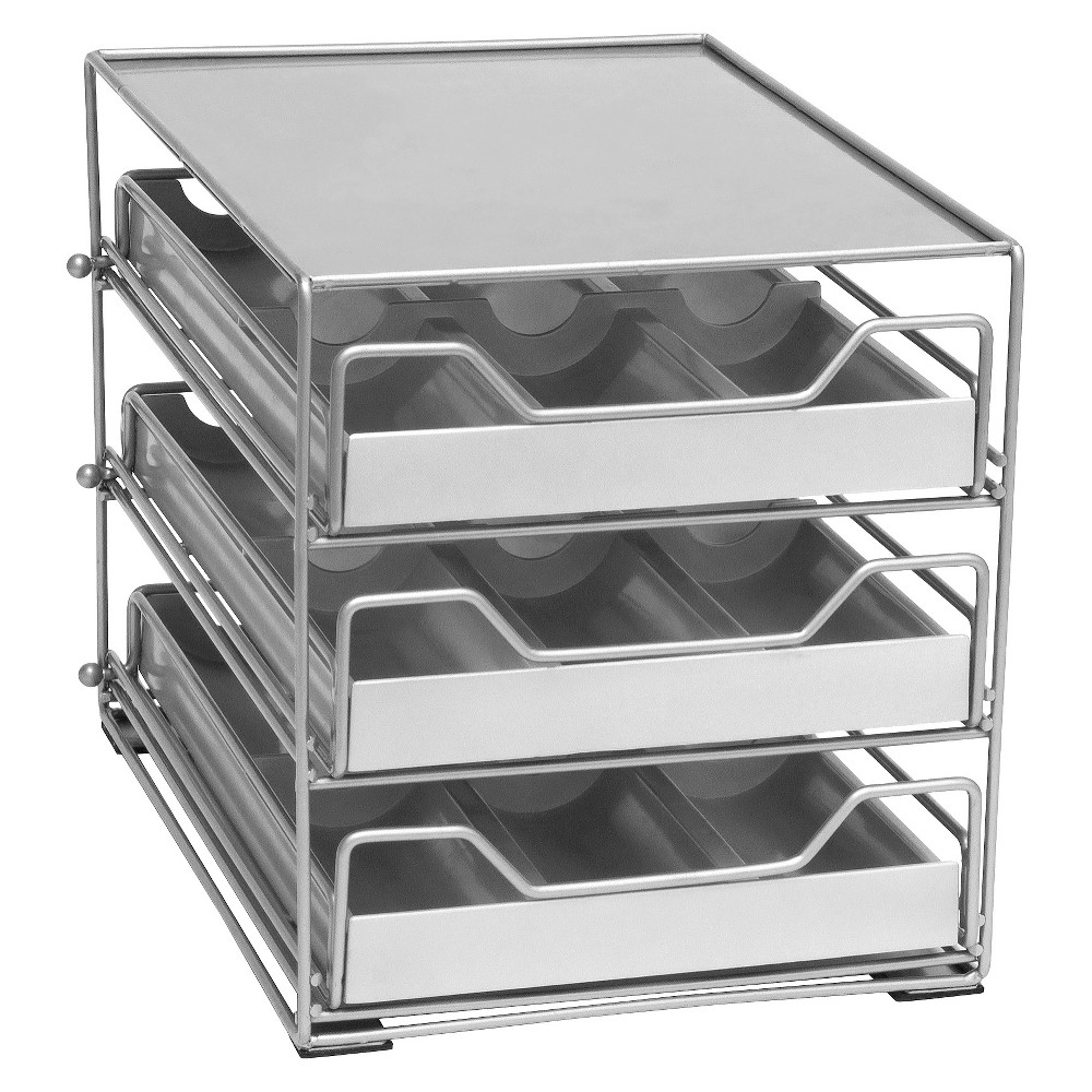 Image of Lipper 3-Tier Tilt Down Spice Drawer, Silver
