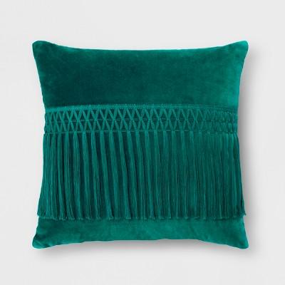 Green Velvet Fringe Throw Pillow - Opalhouse™