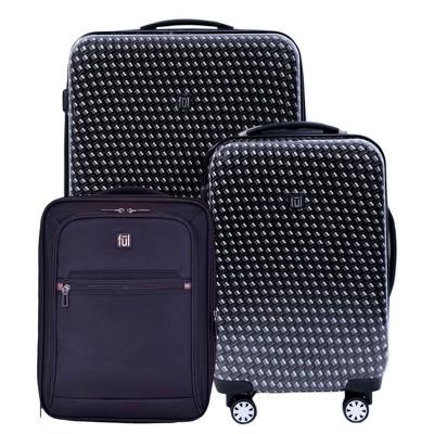 FUL 3pc Hardside Spinner Luggage Set - Metal Chain Swirl