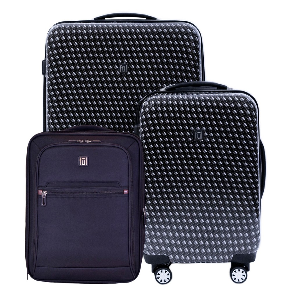 Image of FUL 3pc Hardside Spinner Luggage Set - Metal Chain Swirl, MultiColored