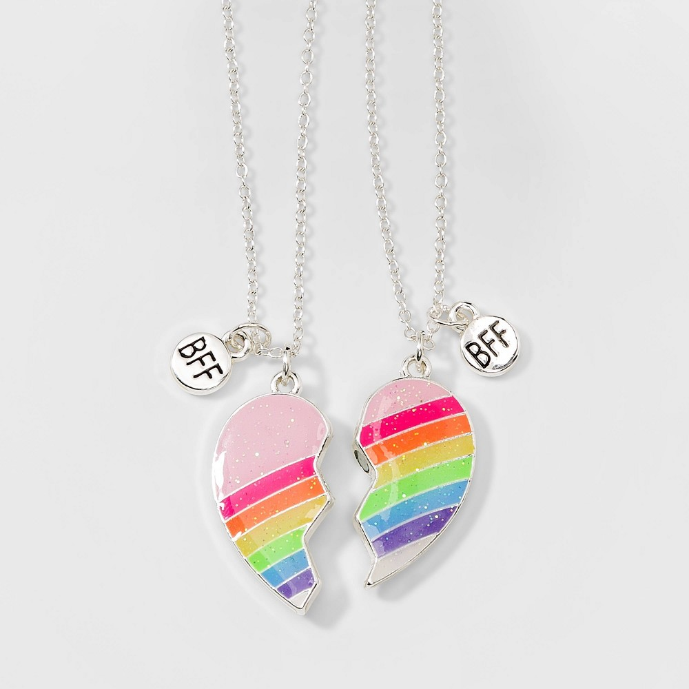 16e27990be43d Girls 2pc Bff Rainbow Broken Heart Necklaces Cat Jack Multi Colored