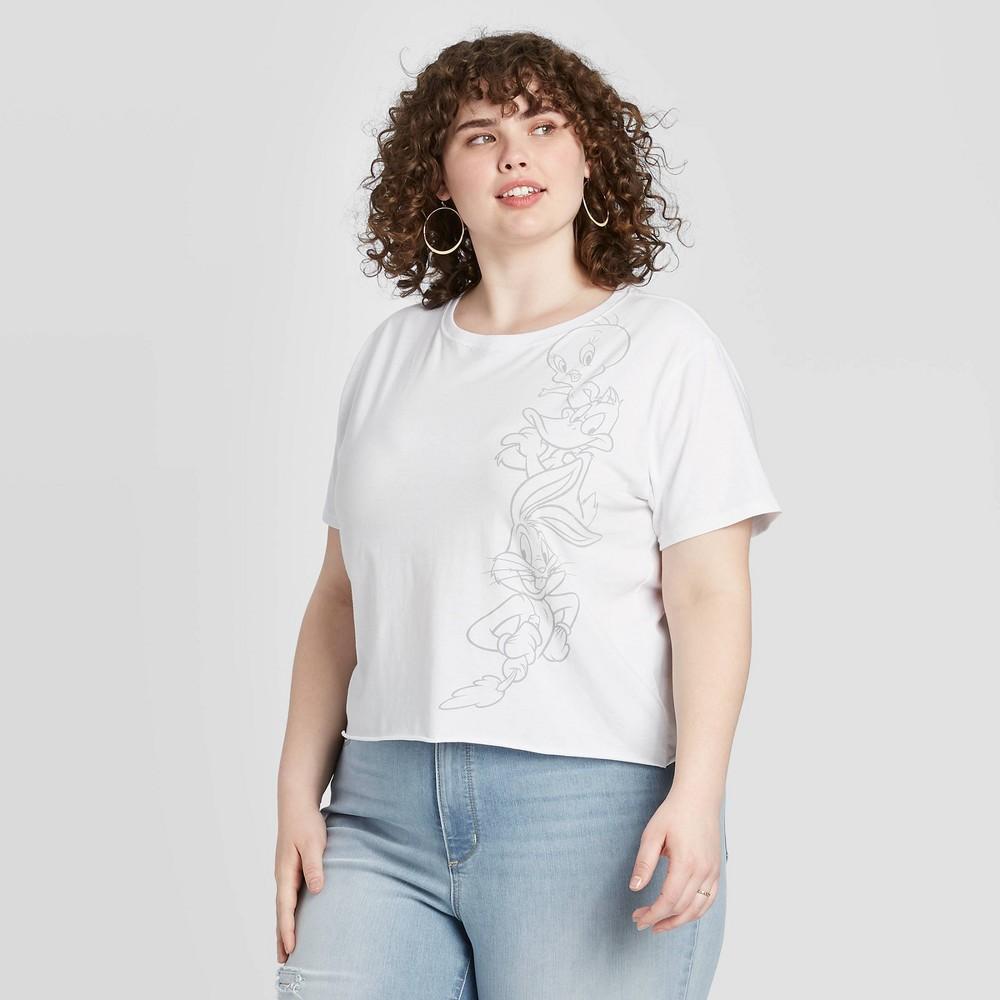 Image of Women's Looney Tunes Plus Size Short Sleeve Graphic T-Shirt (Juniors') - White 1X, Women's, Size: 1XL