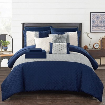 Chic Home Karras Color Block Quilted Decorative Pillows & Shams - Navy