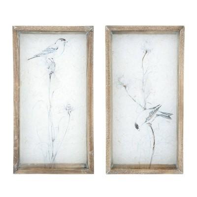 Set of 2 Bird on Glass Decorative Wall Art with Shadowbox Frame - 3R Studios