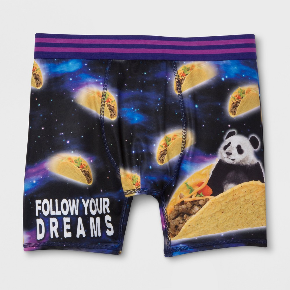 Image of Men's Panda Taco Dreams Boxer Briefs - Blue L, Size: Large