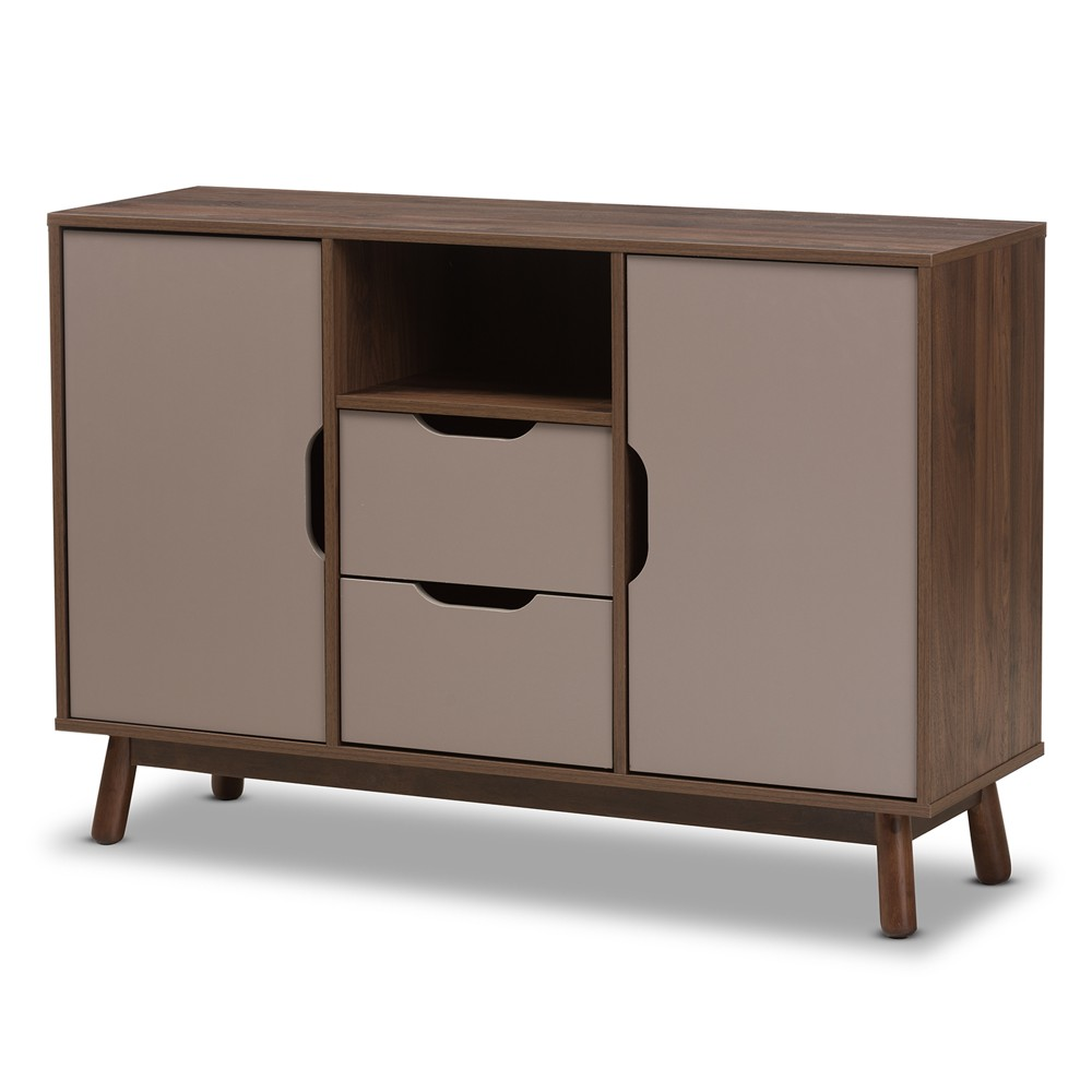 Britta Midcentury Modern Walnut And Two Tone Finished Wood Sideboard Brown/Gray - Baxton Studio