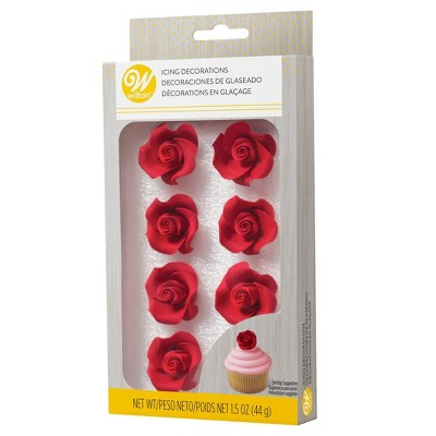 Wilton Red Roses Icing Decorations - 8ct