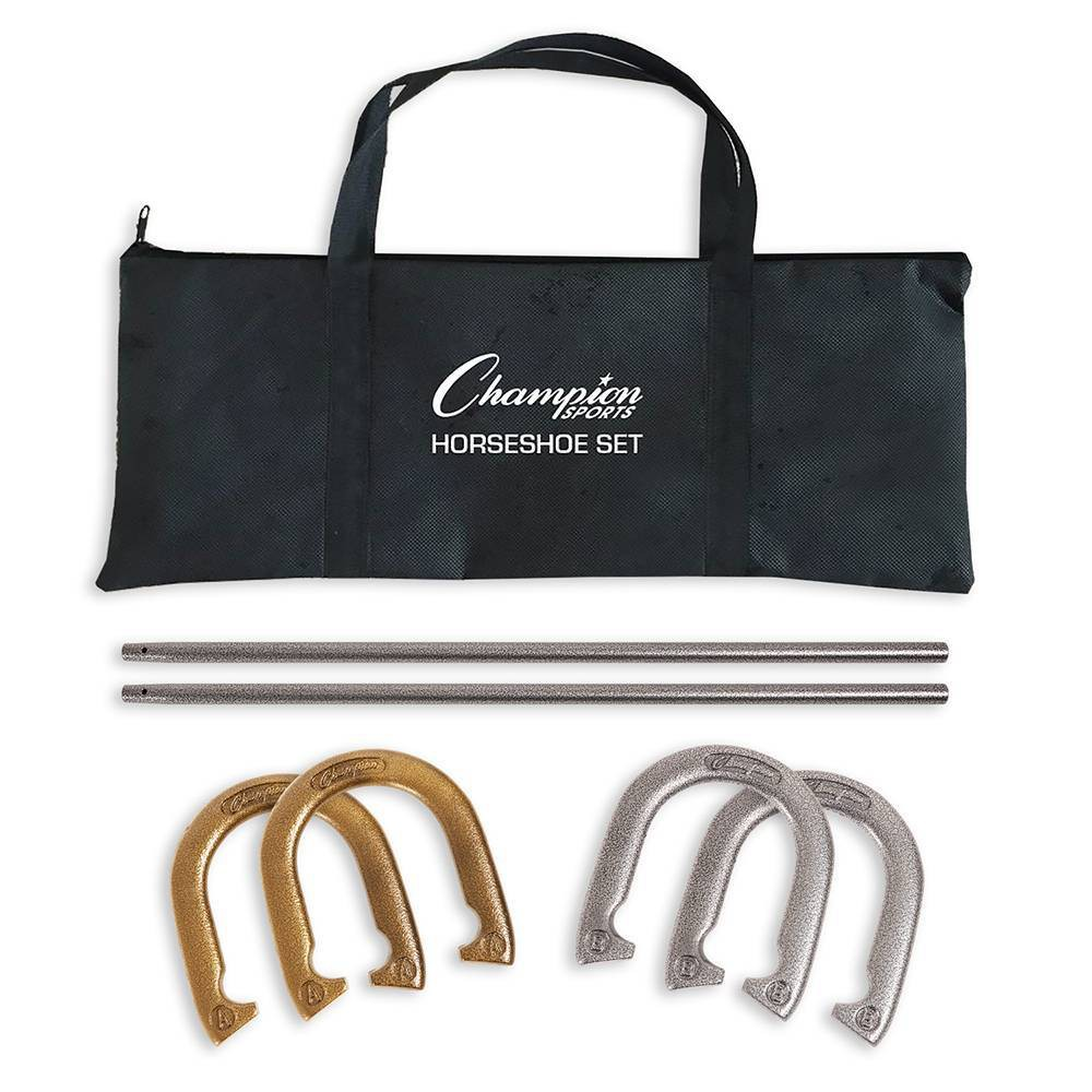 Image of Champion Sports Steel Horseshoes Set With Carrying Case
