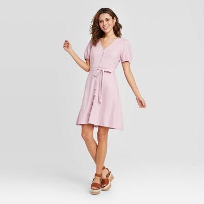 Women's Short Sleeve V-Neck Button-Front Tie Waist Dress - Universal Thread™