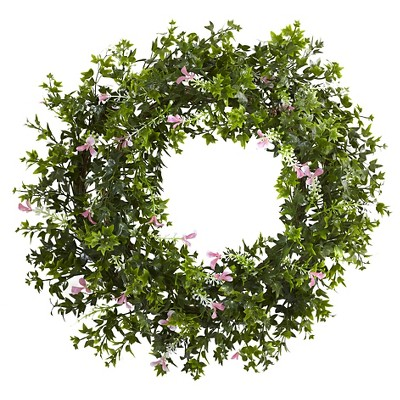 Mini Ivy and Floral Double Ring Wreath with Twig Base - (18?)