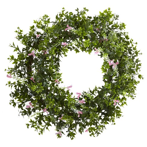 "Mini Ivy and Floral Double Ring Wreath with Twig Base - Green (18"") - image 1 of 1"