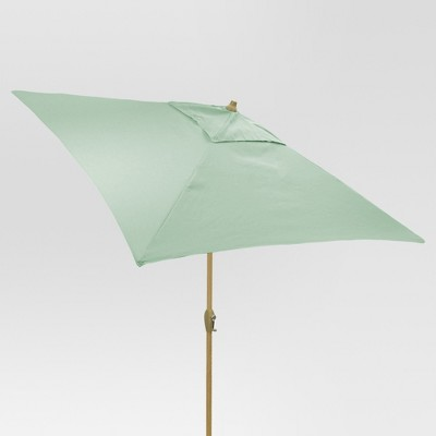 6.5' Square Umbrella - Aqua - Light Wood Finish - Threshold™
