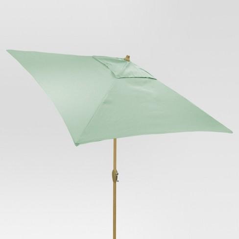 6.5' Square Umbrella - Aqua - Light Wood Finish - Threshold™ - image 1 of 3