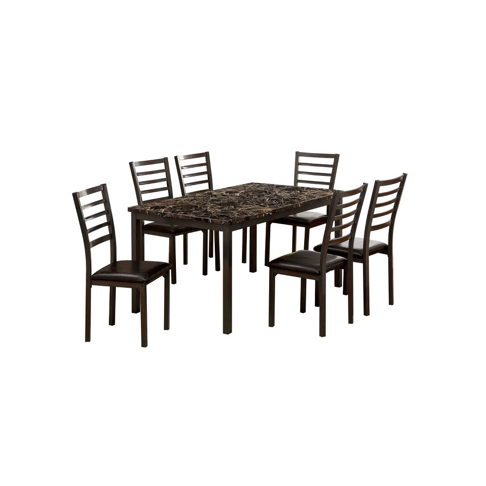 """Image of """"60"""""""" 7pc Larriston Faux Marble Top Dining Table Set Black - ioHOMES"""""""