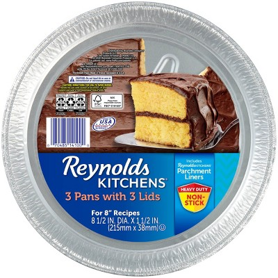 """Reynolds Disposable Bakeware Round Cake Pan with Lid 8"""" - 3ct"""