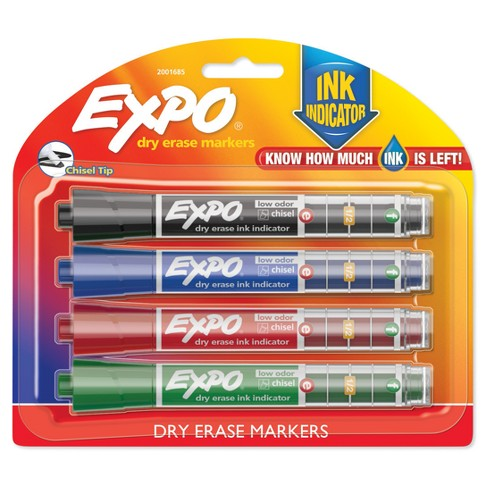 Expo® Ink Indicator Dry Erase Markers, 4ct - Black - image 1 of 12