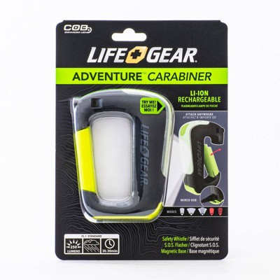 Life Gear Adventure Carabiner with Magnetic Base and S.O.S. 250 Lumens LED Flasher with Safety Whistle