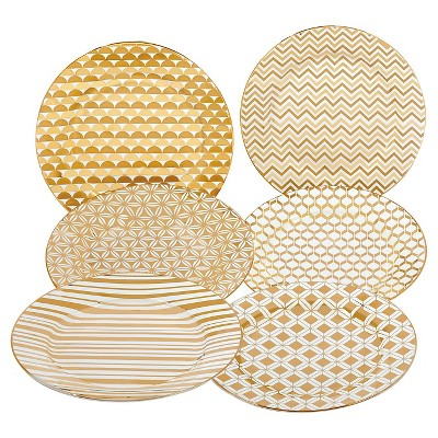 Certified International Elegance Gold Plated Assorted 8  Tapered Dessert Plates - Set of 6