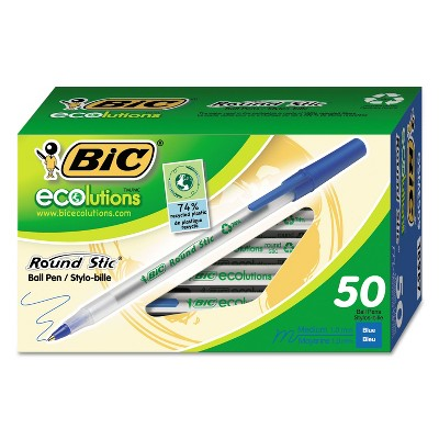 BIC Ecolutions Round Stic Ballpoint Pen Blue Ink 1mm Medium 50/Pack GSME509BE