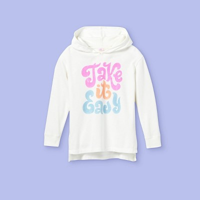 Girls' Oversized Graphic Hoodie - More Than Magic™ Light Gray