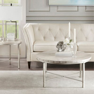 Gretna Round Coffee Table Silver Cream : Target