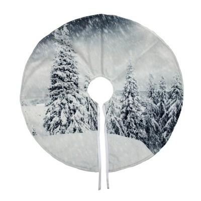 "Northlight 23"" White and Gray Snowy Woodland Scene Mini Christmas Tree Skirt"