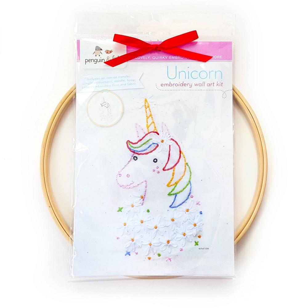Image of Penguin & Fish Unicorn Embroidery Wall Art Kit