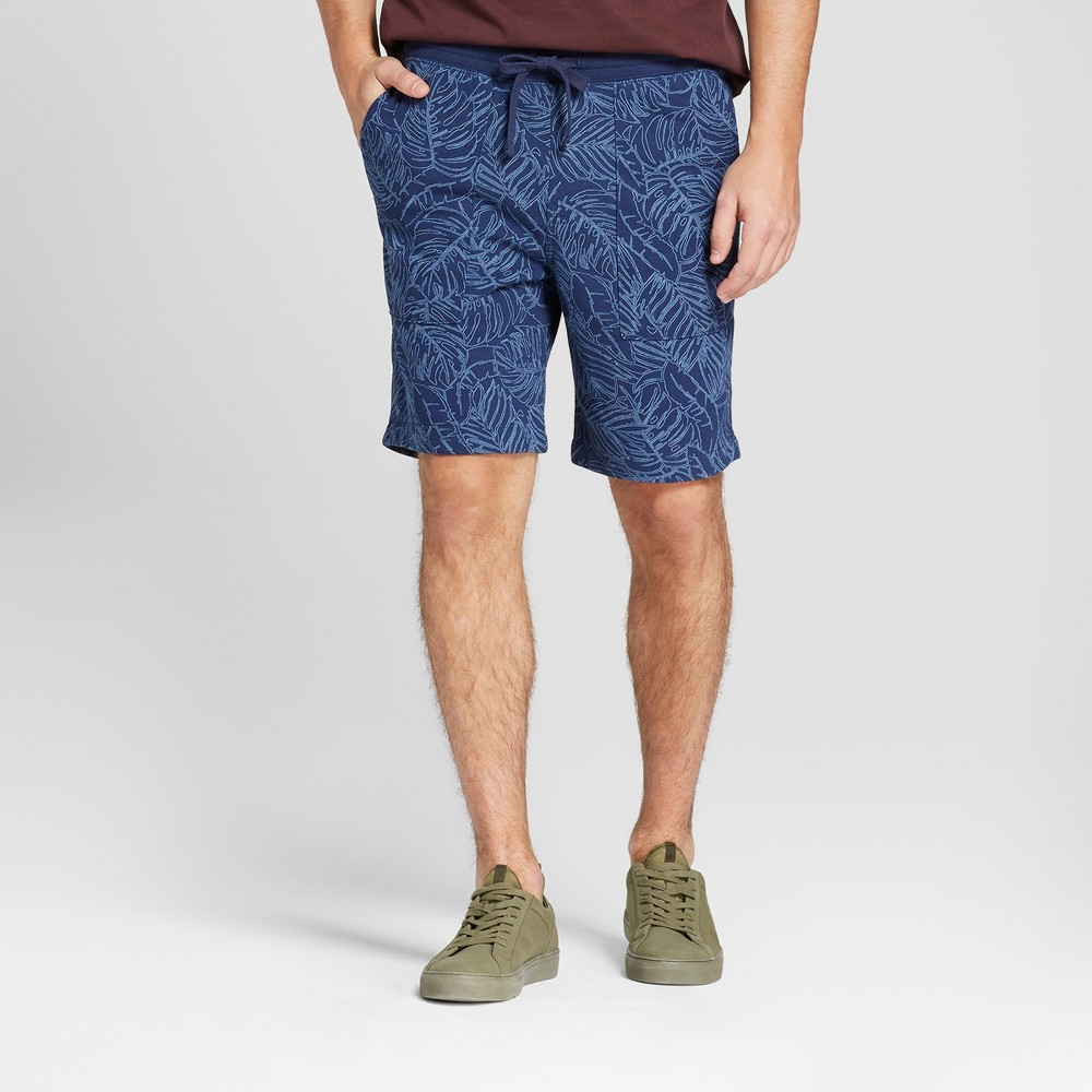 Men's 9 Printed French Terry Knit Shorts - Goodfellow & Co Navy (Blue) M