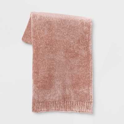 "50""x60"" Shiny Chenille Throw Blanket Blush - Project 62™"
