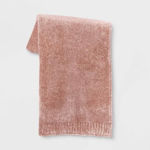 Shine Chenille Throw Blanket Blush