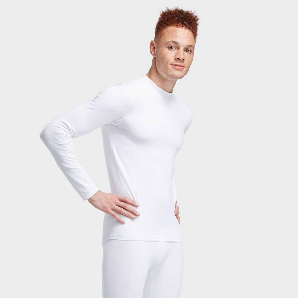Men's Long Sleeve Fitted Cold Mock T-Shirt - All in Motion True White S was $22.0 now $11.0 (50.0% off)