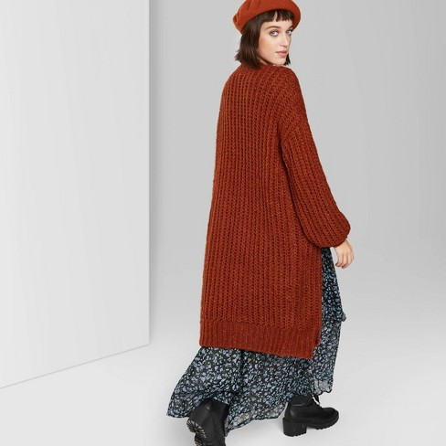 Women's Long Sleeve Open Neck Cardigan Sweater - Wild Fable™ Rust - image 1 of 3