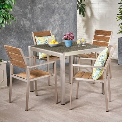 Cape Coral Modern Aluminum 5pc Dining Set with Faux Wood Seats - Christopher Knight Home