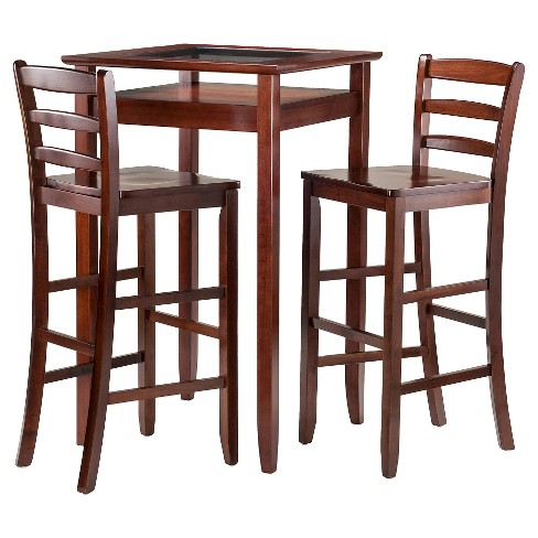 3 Piece Halo Set Pub Table With Ladder Back Bar Stools Wood Walnut Winsome