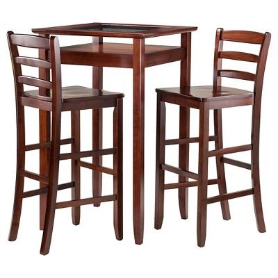 3 Piece Halo Set Pub Table With Ladder Back Bar Stools Wood/Walnut   Winsome