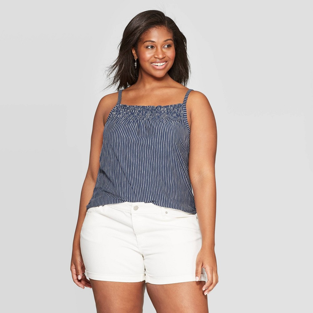 65af9a83b38 Womens Plus Size Striped Sleeveless Square Neck Tank Top Universal Thread  Navy 4X Blue