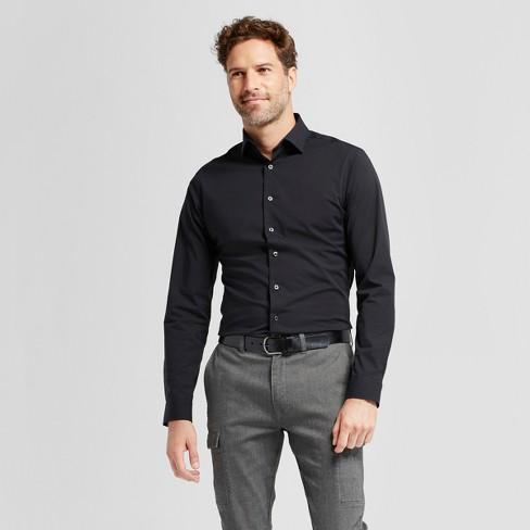f6c5d287aa3 Men's Slim Fit Button-Down Dress Shirt - Goodfellow & Co™ Black M : Target