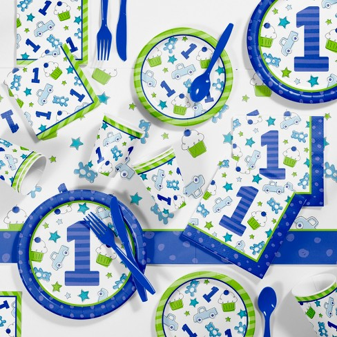 81pk Doodle 1st Birthday Boy Party Supplies Disposable Tableware Accessories Blue Target