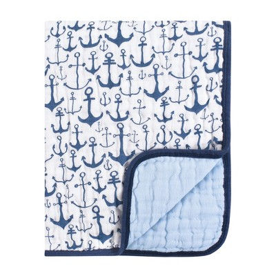 Yoga Sprout Baby Boy Cotton Muslin Tranquility Quilt Blanket, Blue Anchor, One Size
