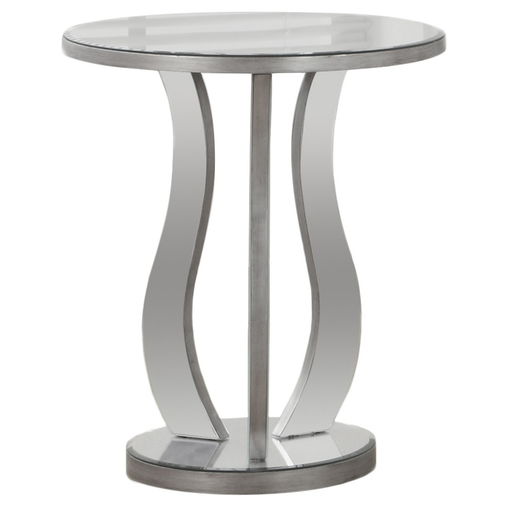 Image of Round Accent Table with Mirror - Silver - EveryRoom