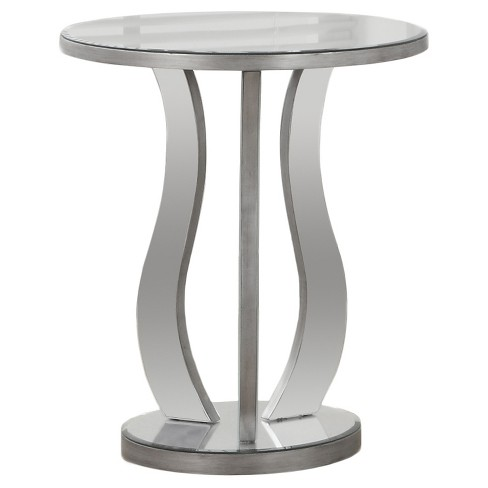 Round Accent Table With Mirror Silver, Silver Mirror End Table