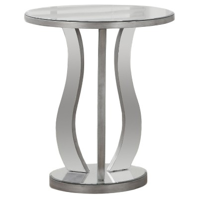 Round Accent Table With Mirror   Silver   EveryRoom