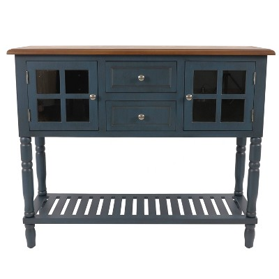 Morgan Two Door Console Table Navy/Wood - Décor Therapy