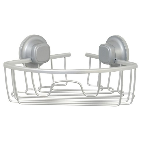 NeverRust Power Grip Aluminum Suction Corner Basket Satin Chrome - Zenna Home - image 1 of 4