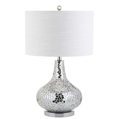 26  Emilia Mirrored Mosaic LED Table Lamp Silver (Includes Energy Efficient Light Bulb)- JONATHAN Y