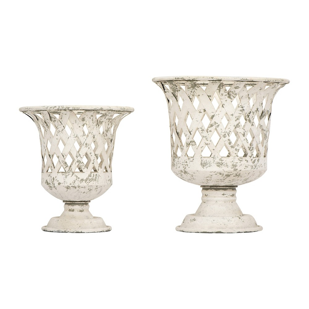 Image of 2pc Round Metal Footed Basket Set Cream - 3R Studios, Beige